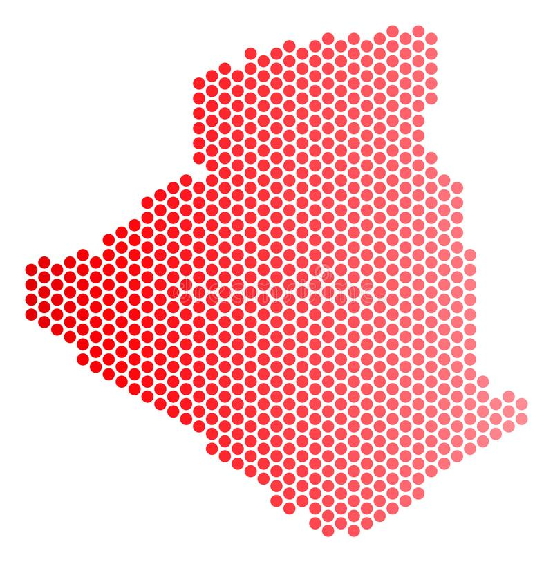 红色被加点的阿尔及利亚地图 库存例证