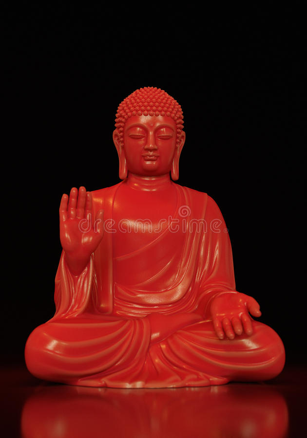 红色被反射的菩萨 免版税图库摄影