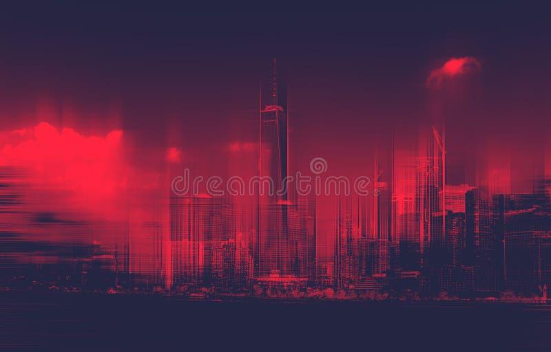 红色被定调子的被弄脏的更低的曼哈顿市地平线 库存照片