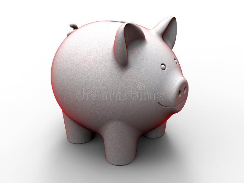 红色被概述的逗人喜爱的存钱罐 库存例证