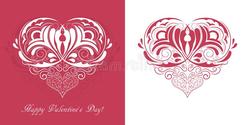 Red ornament heart and `Happy Valentine`s day!` text 库存例证
