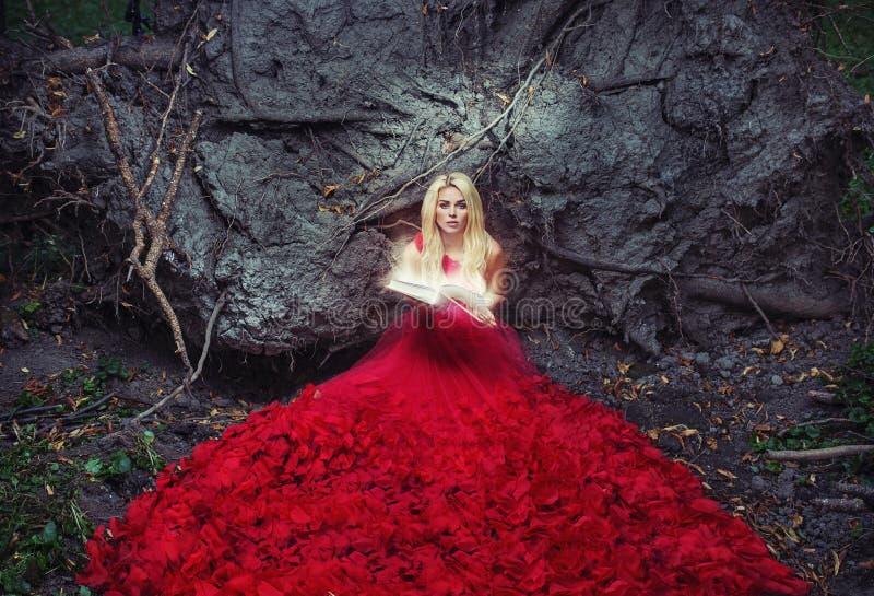 红色褂子的美丽的妇女读书的 库存照片