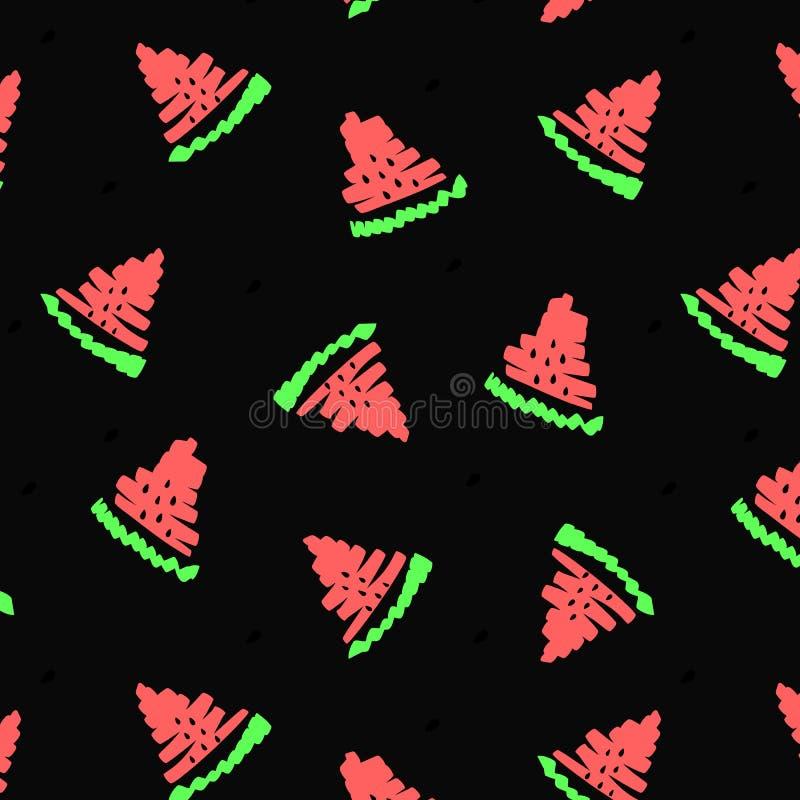 红色西瓜例证 夏天果子无缝的样式甜纹理 季节食物黑背景五颜六色的孩子打印T恤杉 皇族释放例证