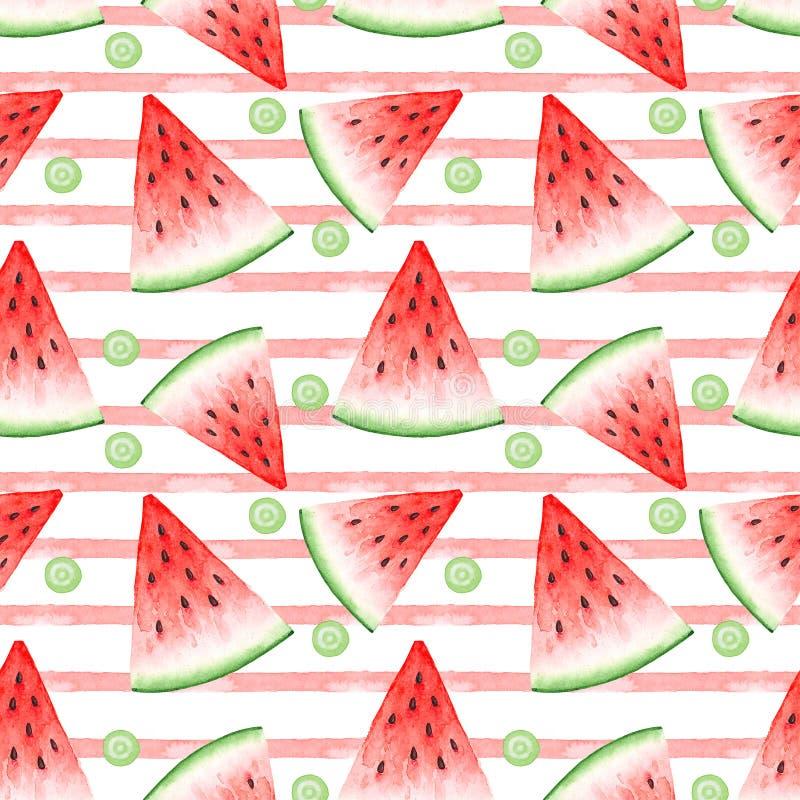 红色西瓜切片和桃红色条纹水彩图画的无缝的样式  向量例证