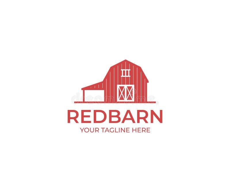 红色谷仓商标模板 农厂传染媒介设计 库存例证