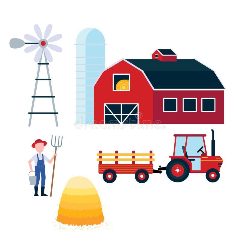 红色谷仓,收获有半拖车和干草捆象标志的拖拉机 向量例证