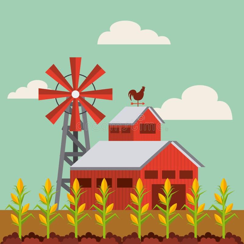 红色谷仓和农厂风景 皇族释放例证