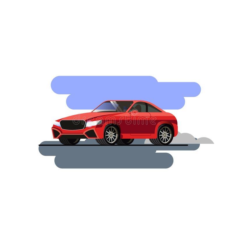 红色跑车,超级汽车 传染媒介例证,平的设计 在白色的被隔绝的对象 库存例证