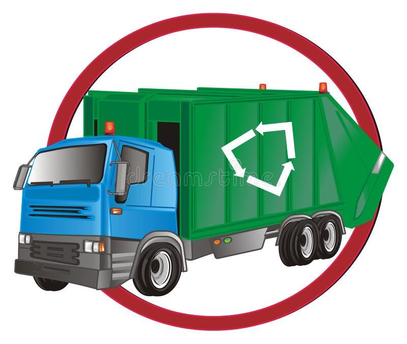 红色路标和垃圾车 向量例证