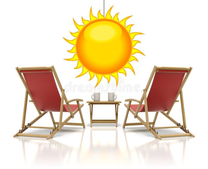 红色轻便折叠躺椅 向量例证