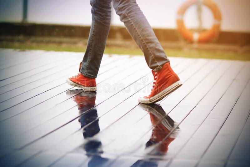 红色运动鞋的一个人走在一条湿木板走道的 库存图片