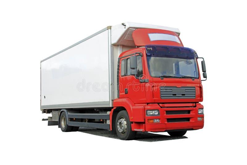 红色送货卡车被隔绝在白色 库存图片