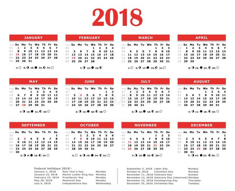 2018红色逐年日历 向量例证