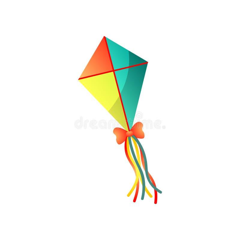 红色逗人喜爱的纸,黄色,绿色天空风筝 向量例证