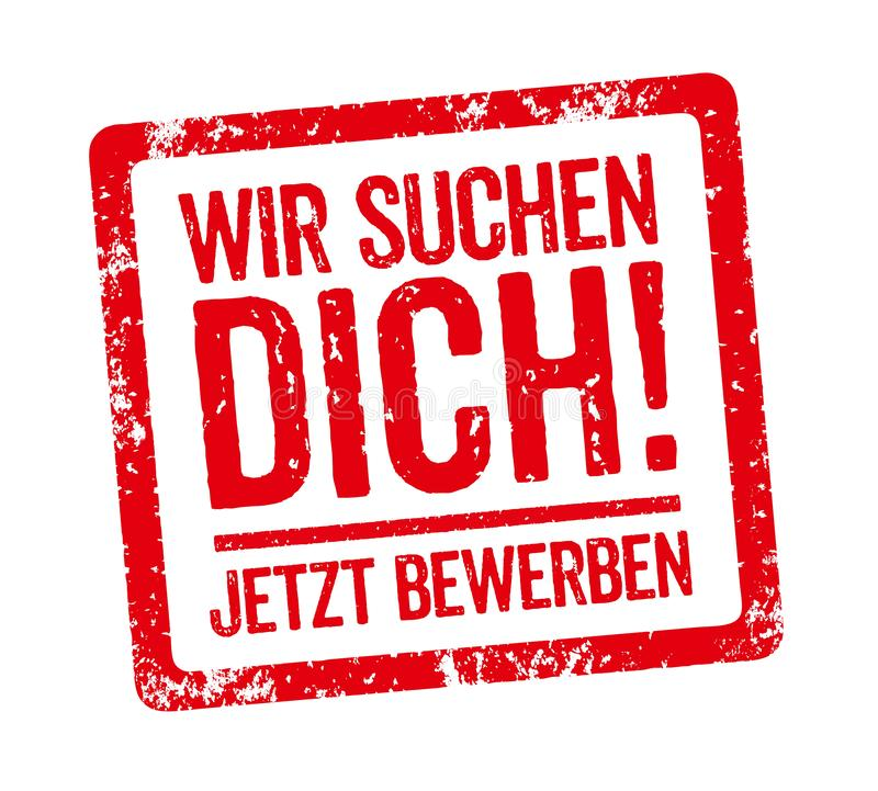 红色邮票-德国口号Wir suchen我们想要您的Dich 库存例证