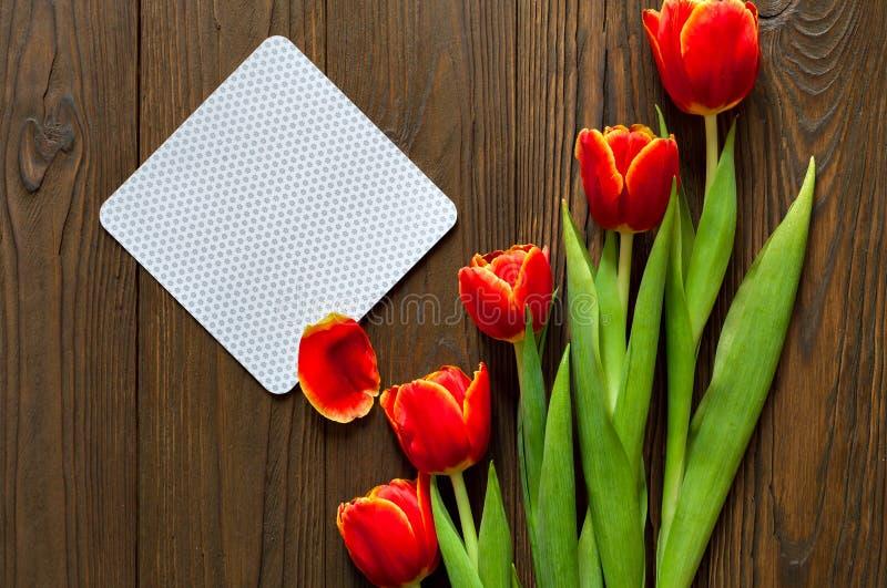 红色郁金香和卡拉服特信封在木背景 图库摄影