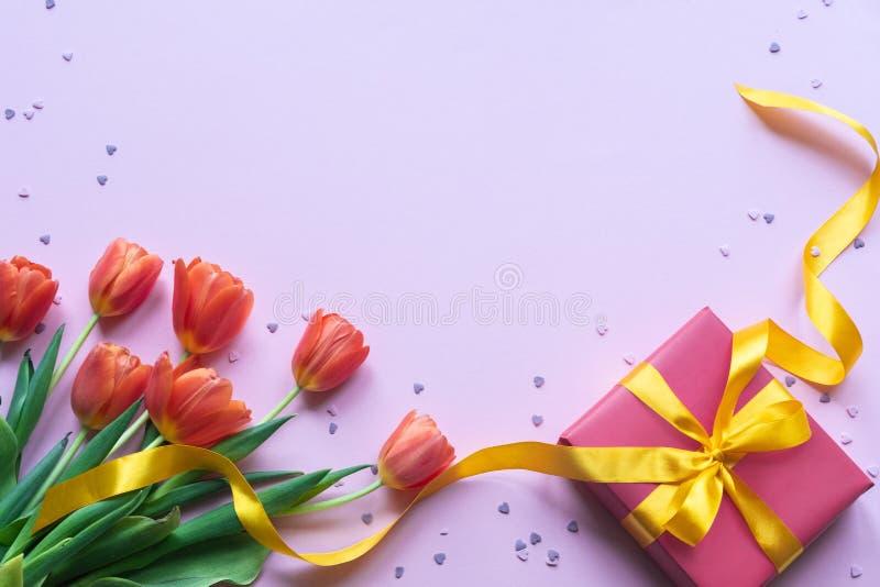 红色郁金香和礼物盒有黄色丝带的在桃红色背景 复制空间 库存照片