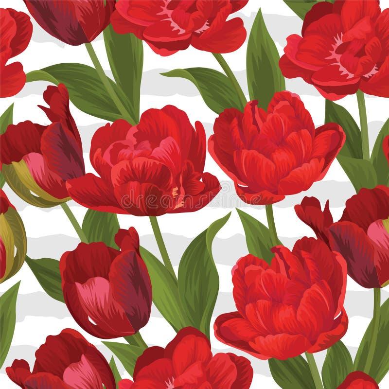 红色郁金香花背景的基本的RGBSeamless样式 免版税库存照片