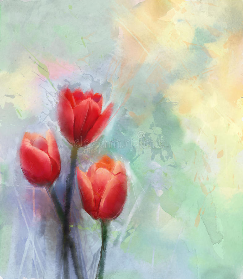 红色郁金香水彩开花绘画 向量例证