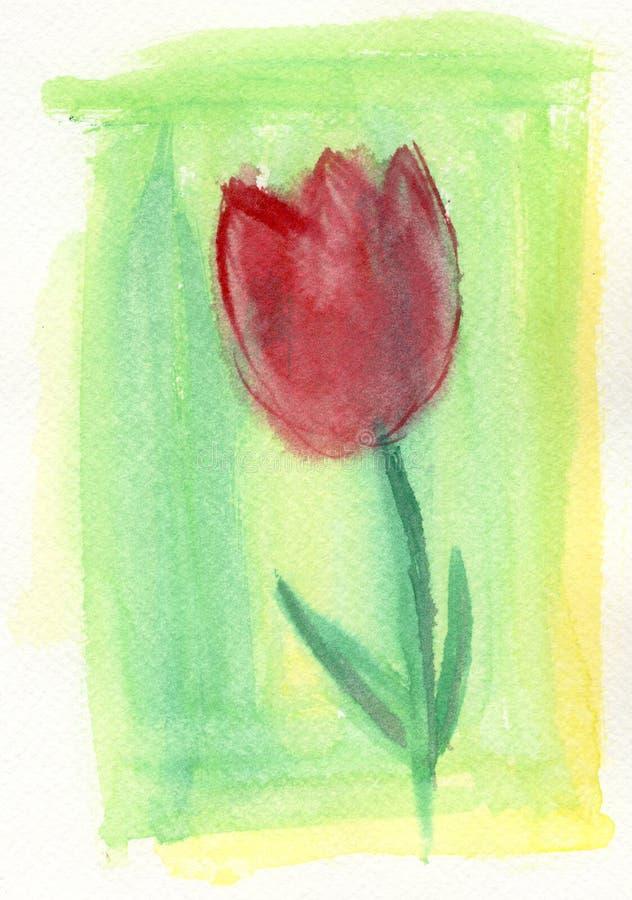 红色郁金香 向量例证