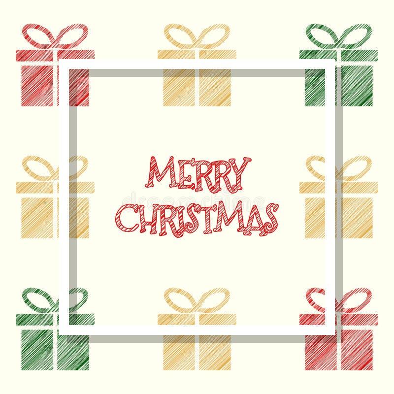红色金黄绿色上色了礼物盒,圣诞节贺卡 向量例证