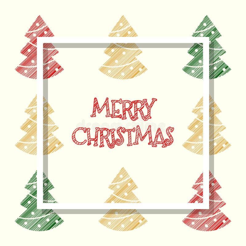 红色金黄绿色上色了xmas树,圣诞节贺卡 向量例证