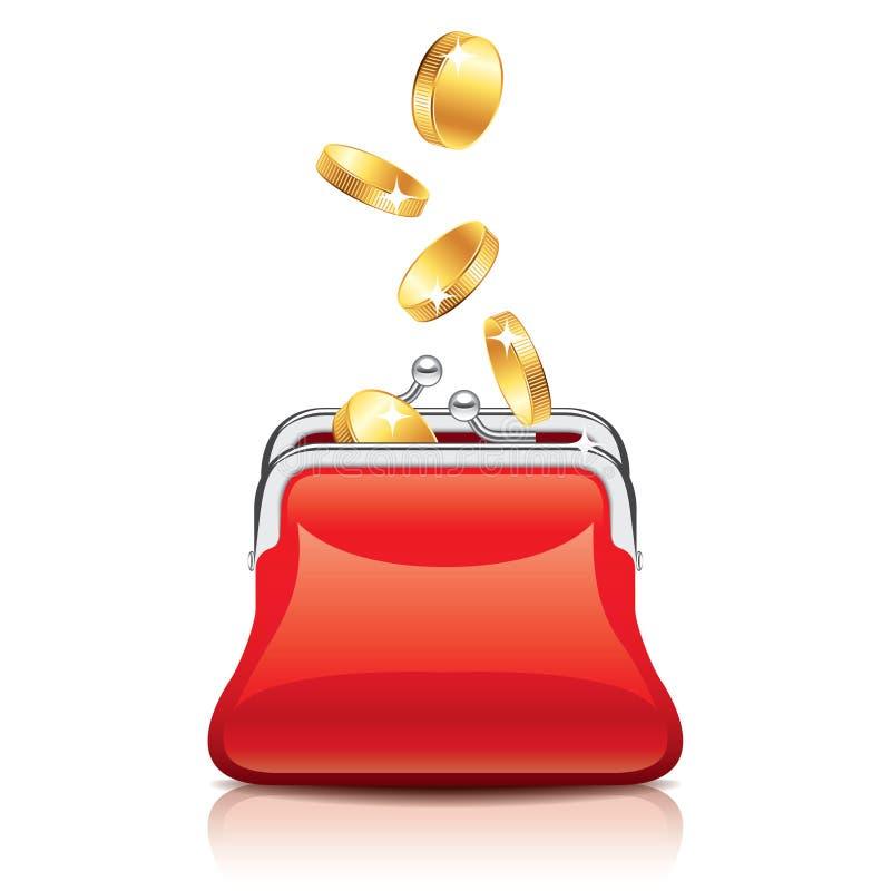 红色钱包和硬币例证 皇族释放例证