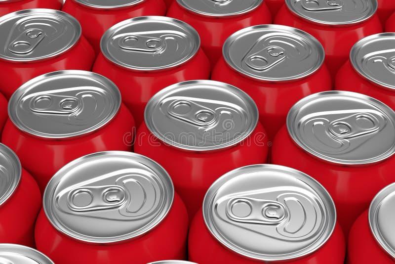 红色铝饮料行装背景于罐中 3d?? 库存例证