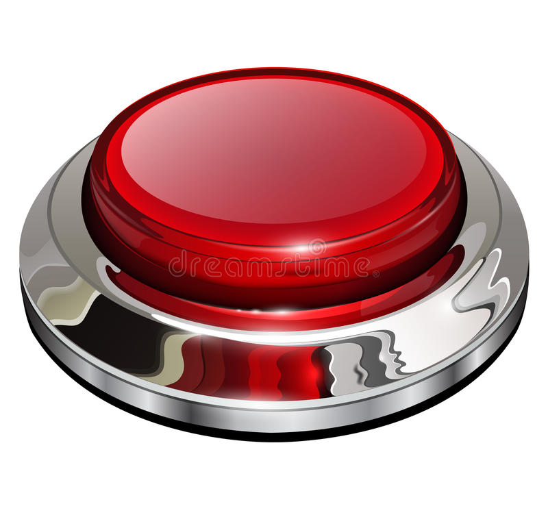 红色镀铬物按钮 皇族释放例证