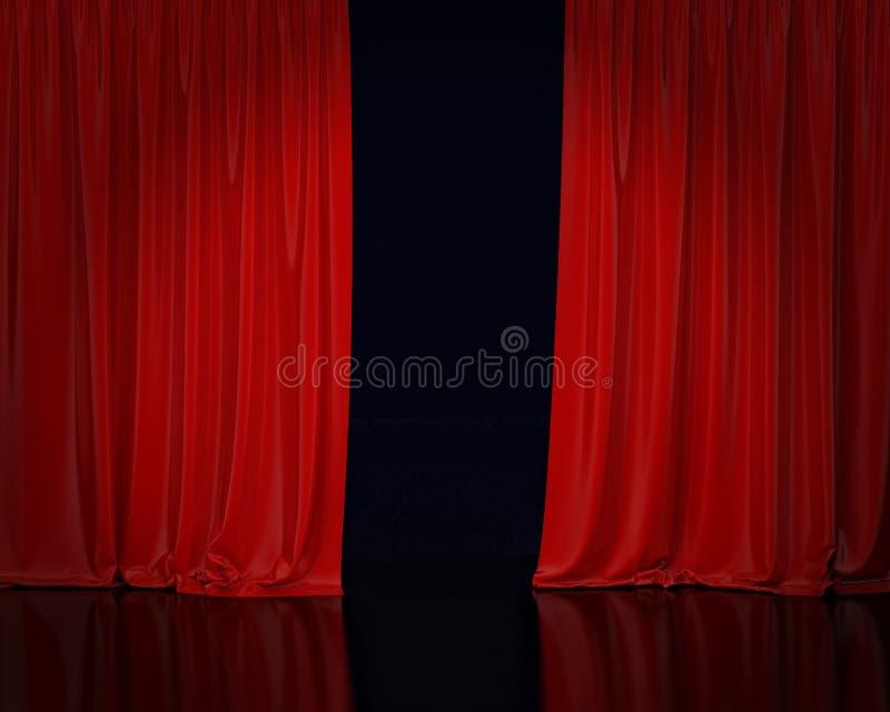 红色阶段帷幕,背景 库存例证