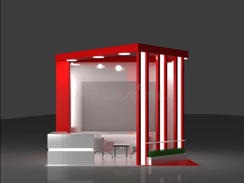 红色陈列立场内部和外部样品 向量例证