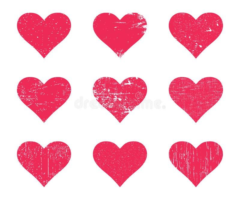 红色难看的东西心脏 困厄的纹理心脏集合 皇族释放例证
