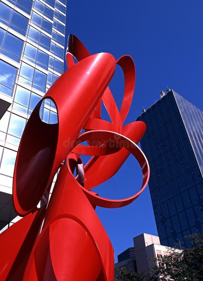 红色雕塑,达拉斯。 图库摄影