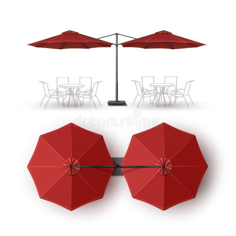 红色露台双室外海滩咖啡馆休息室餐馆圆的伞 向量例证