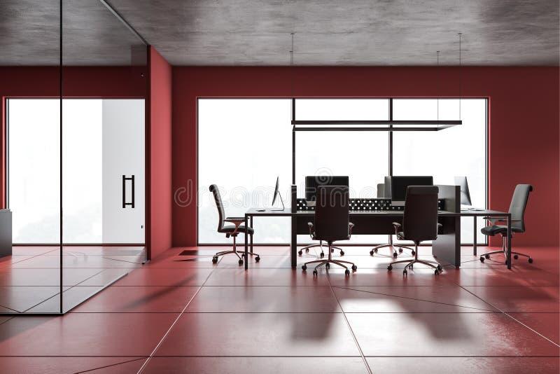 红色露天场所办公室在大厅里 皇族释放例证
