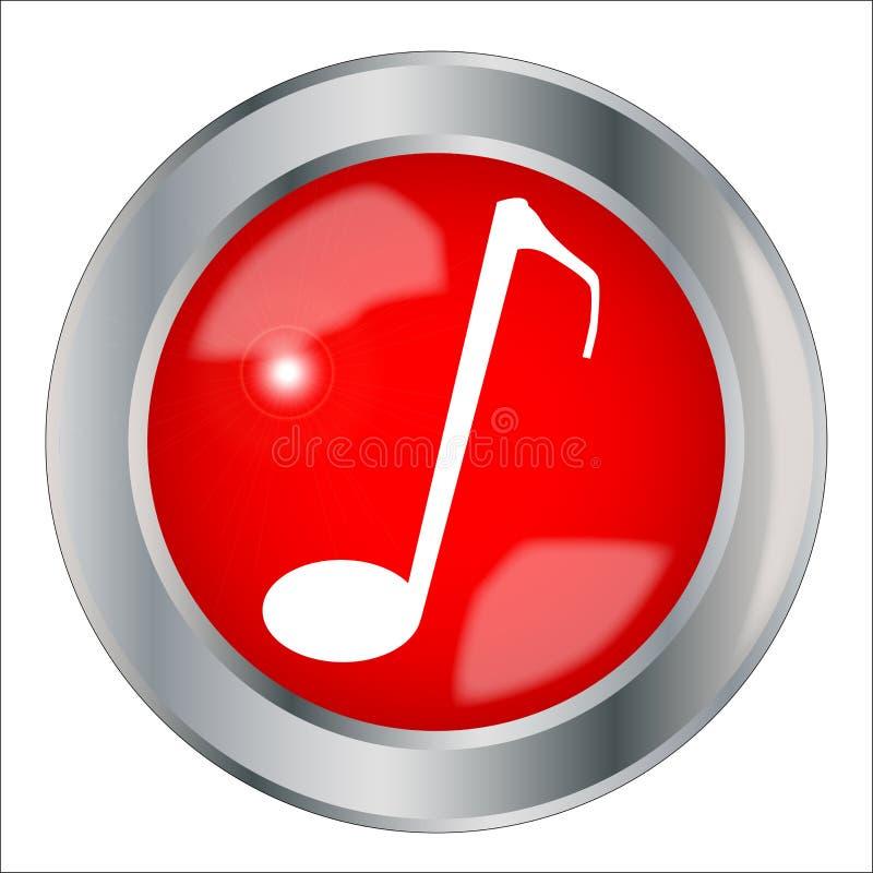 红色音符按钮 向量例证