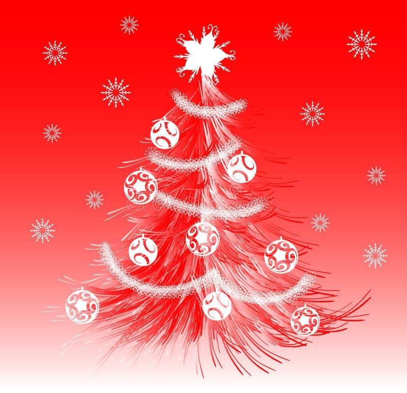 红色风格化圣诞树例证 库存例证