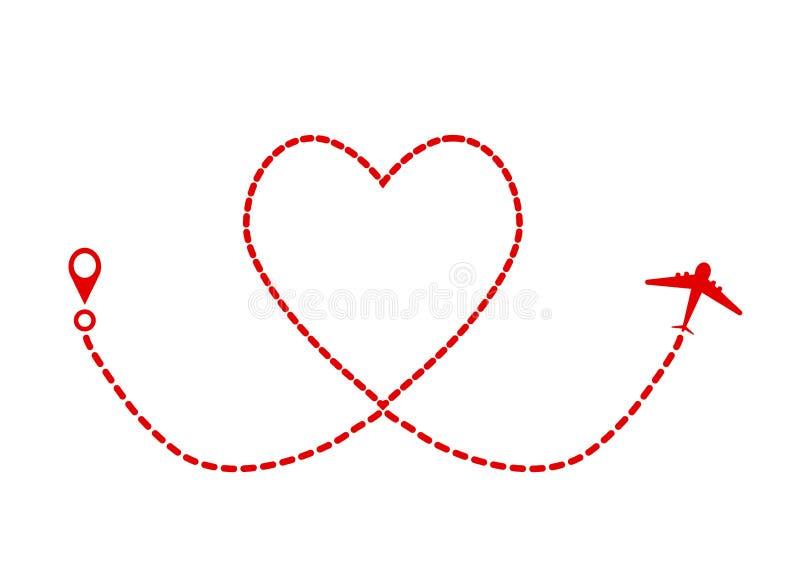 红色飞机和轨道当心脏标志,情人节贺卡 皇族释放例证