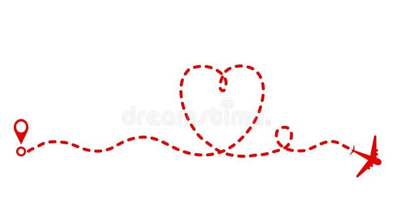红色飞机和轨道当心脏标志,情人节贺卡 向量例证
