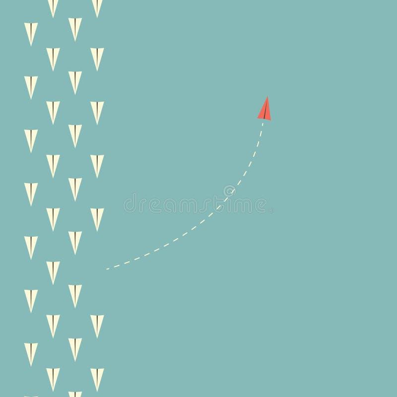 红色飞机改变的方向和白色一个 新的想法,变动,趋向,勇气,创造性的解答,事务,旅馆 向量例证