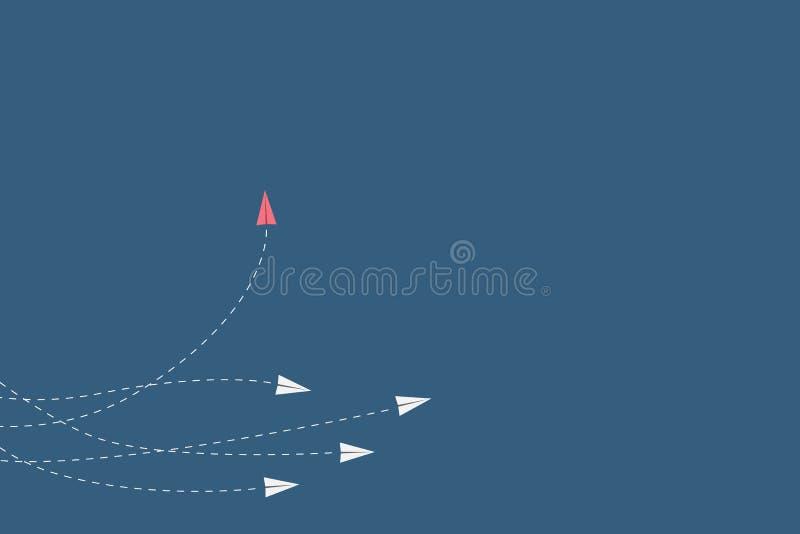 红色飞机改变的方向和白色一个 新的想法,变动,趋向,勇气,创造性的解答,创新 库存例证