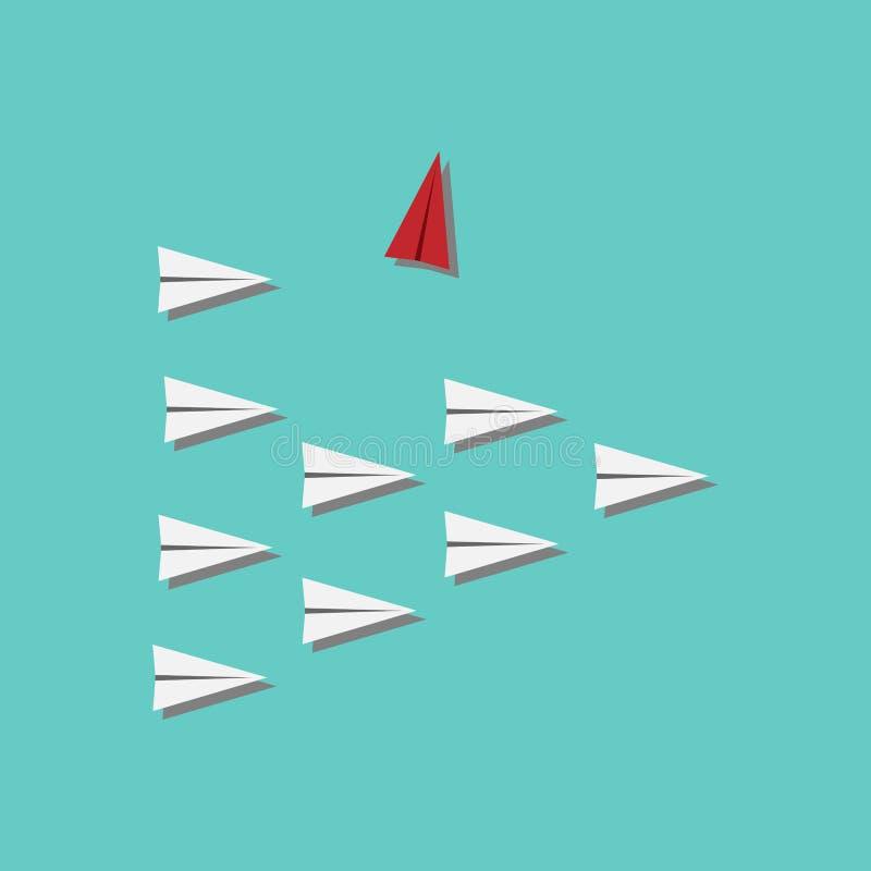 红色飞机改变的方向和白色一个 新的想法、变动、趋向、勇气、创造性的解答、创新和独特的方式精读 库存例证