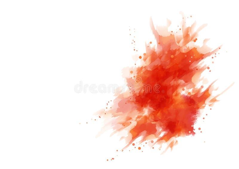 红色飞溅水彩 库存例证