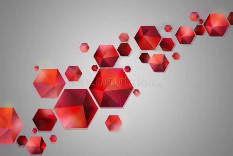 红色飞行的几何蜂窝形状抽象背景-棱镜,金字塔,六角形,在灰色背景的几何图 向量例证