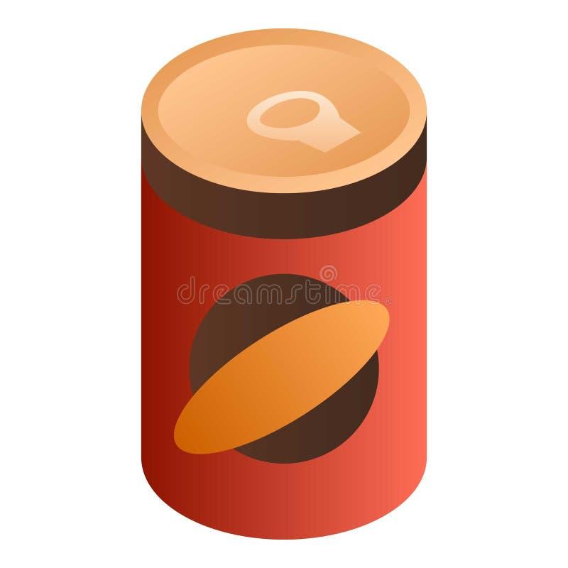 红色食物罐头象,等量样式 库存例证