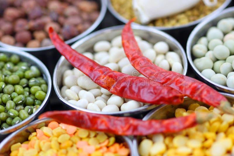红色食物谷类的胡椒 库存图片
