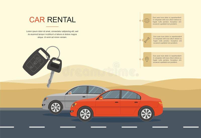 红色驾车在一条路在沙漠 信息、出租车和自动谎话横幅 皇族释放例证