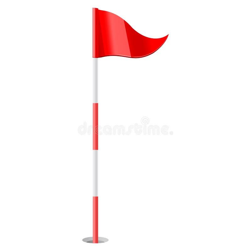 红色高尔夫球旗子 向量例证