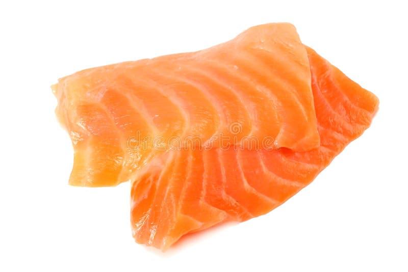 红色鱼 在白色背景的未加工的三文鱼内圆角孤立 图库摄影