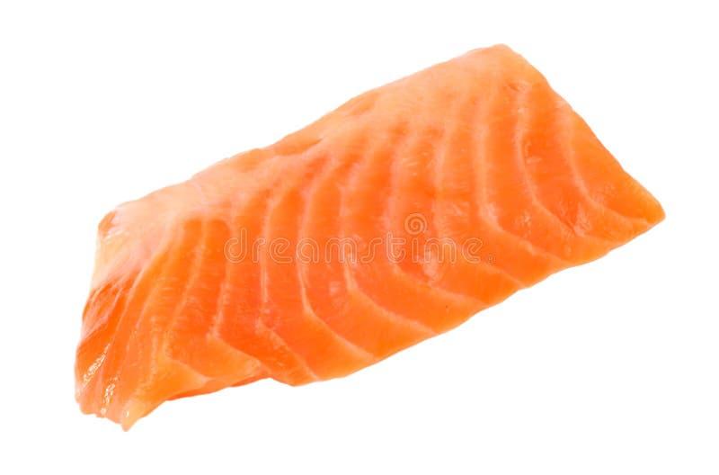 红色鱼 在白色背景的未加工的三文鱼内圆角孤立 库存图片